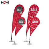 Customized high quality street 5meter flag pole with base and double printing flag for advertising