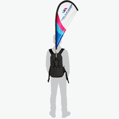 custom walking advertising personal carbon plastic clamshell backpack flag walking advertising